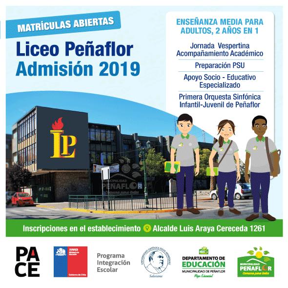 Liceo Peñaflor abre proceso de Matrículas para Enseñanza Media para Adultos